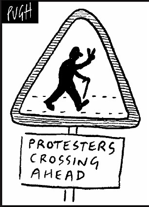 Grandfather's pedestrian crossing protest halts traffic in