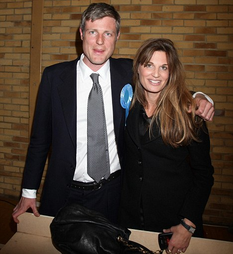 Victory: Zac Goldsmith celebrates winning the seat for Richmond Park with his sister Jemima Khan