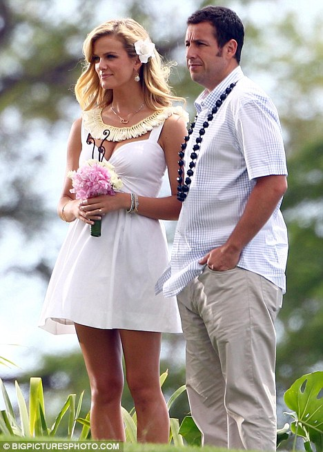 Girl of his dreams: Adam Sandler films a wedding scene with swimsuit model Brooklyn Decker for their new film Just Go With It in Hawaii yesterday