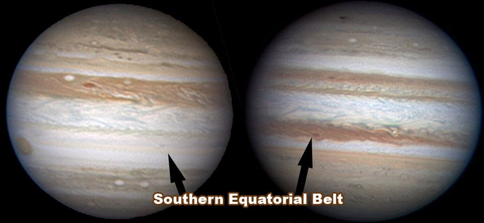 Jupiter was pictured this month (left) looking unusually bare, compared to July 2009 (right)