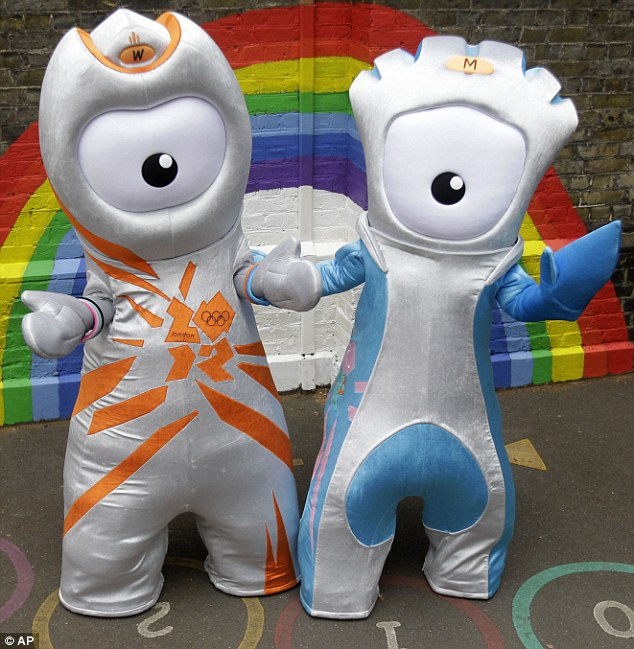 New mascots: The Olympic mascot Wenlock, left, and the Paralympic mascot Mandeville are unveiled in East London today. They were created from 'two drops of steel from the Olympic Stadium'