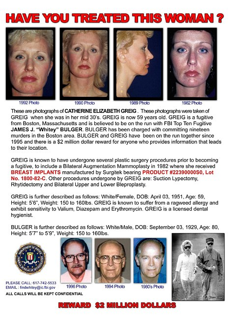 Surgery: Catherine Elizabeth Greig is said to be addicted to cosmetic surgery - a faulty breast implant could well lead to her arrest thanks to this FBI wanted poster which has been published in a journal for plastic surgeons