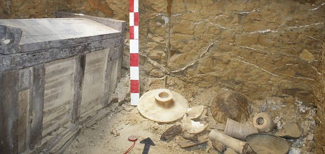 One of the tombs with pottery remains found inside