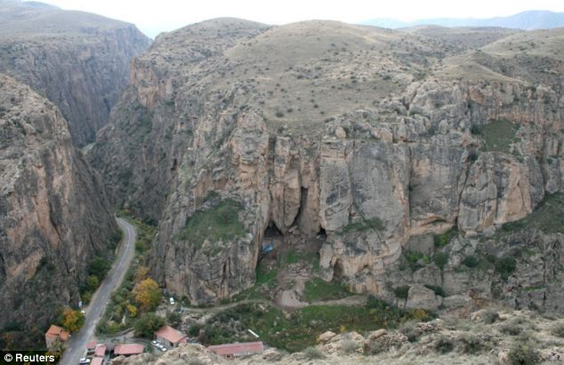 The entrance to an Armenian cave,