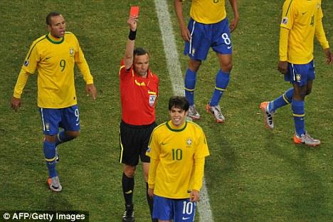 Image result for kaka red card 2010