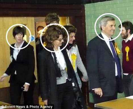 Unfaithful: Chris Huhne (circled right) his wife Vicky (centre) and Carina Trimingham (left). Last week Mr Huhne left his wife for Miss Trimingham
