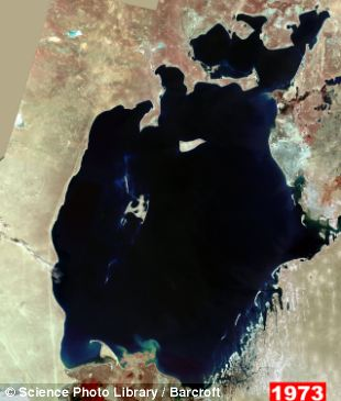 Satellite image of the Aral Sea, in
