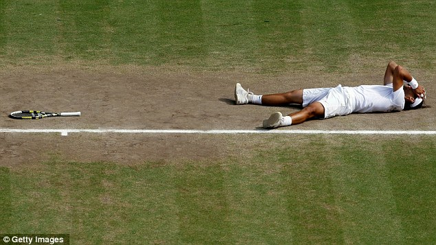 Joy: Nadal needed just one match point to seal victory and collapse in delight