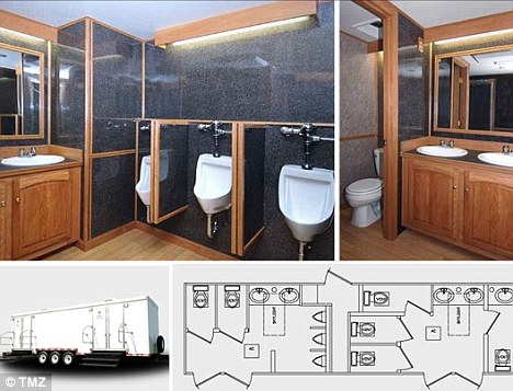 Height of luxury: Miss Clinton is expected to hire porcelain portaloos at a total cost of about $15,000
