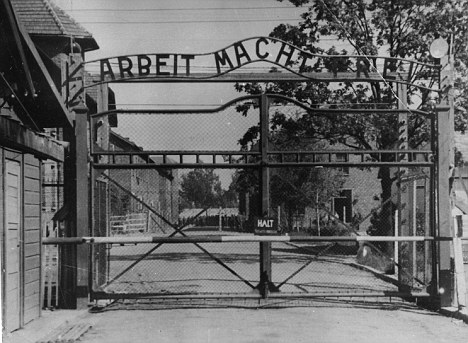 Horror: The main gate of the Nazi concentration camp Auschwitz,  which was liberated by the Russians in January 1945
