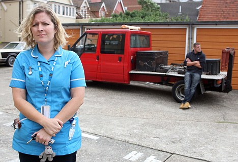 Stand-off: Clampers threatened to tow Hannah Bannock's car after  she parked in a patient's space in Clacton, Essex