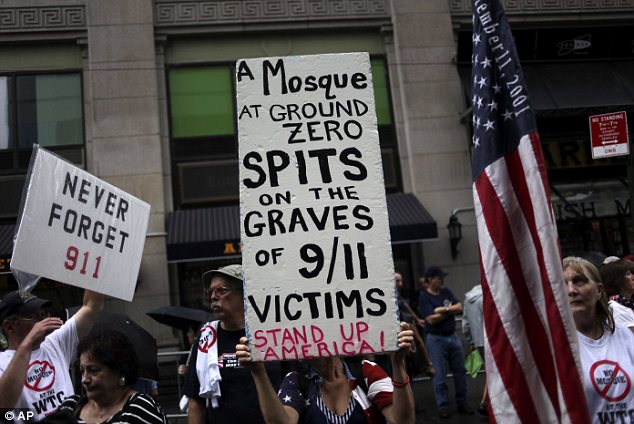 Insult: A Time magazine poll released last week also revealed that  more than 70 per cent of those questioned believed that to build the  mosque would insult the memory of victims