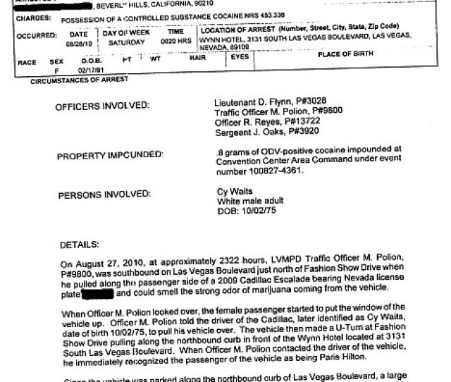 Police Report The Las Vegas Arrest Report Has Been Released Showing Hilton