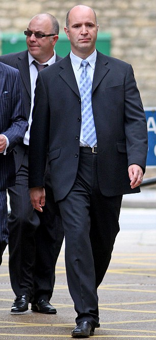 Jailed: Sergeant Mark Andrews arrives at Oxford Magistrates Court,  where he was sentenced to six months