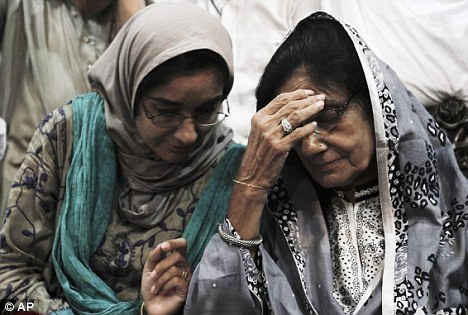 Family's grief: Siddiqui's sister Fauzia, and mother Ismat, react after learning of the verdict in Karachi, Pakistan today