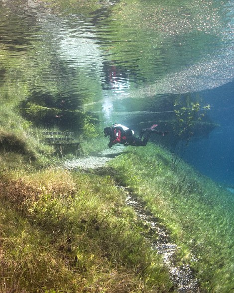 Changing of the seasons: Left, how the park looks during the autumn and winter months with a shallow layer of water at its lowest part, and right, divers flood in to explore the area in a totally different way in the summer