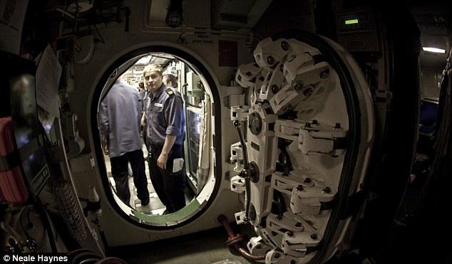The 29-bulkhead watertight door, which shuts off the forward escape compartment on HMS Talent