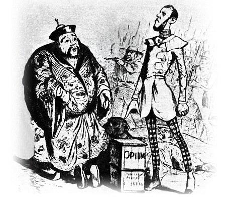 Funding the tea trade: A cartoon depicting the Opium Wars