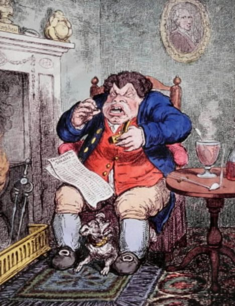 Caricaturist James Gillray illustrated the taking of snuff, which  appears in first reports in scientific literature of distinctive tumours of nasal cancer in snuff users in 1761