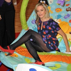 Fisher Price High Chair Seat Cover Rentals Trinidad Tamzin Outhwaite Comes A Cropper Trying To Get Out Of Giant Bouncy At Baby Show | Daily ...