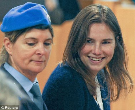 Different look: Amanda Knox during her murder trial back in February 2009