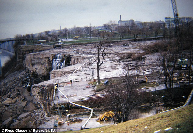 Historical moment: In order to stop the Niagara River running over the American Falls, engineers constructed a dam consisting of 27,800 tons of rock, stopping the water for the first time in 12,000 years