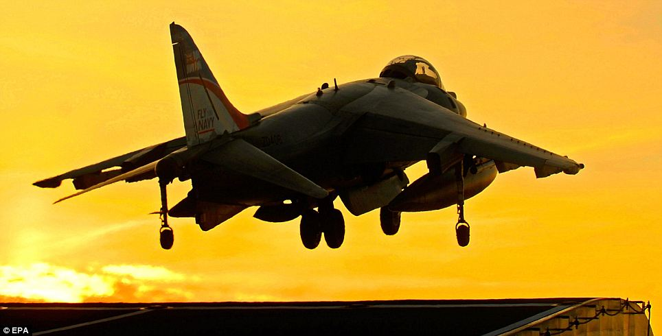 Cutting edge: A Harrier takes off from the aircraft carrier Ark Royal. Both have become victims of Government defence cuts