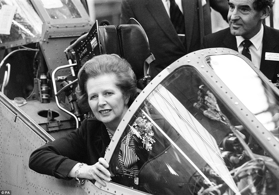Former Prime Minister Margaret Thatcher during a visit to British Aerospace's Sea Harrier production line at Kingston in December 1982