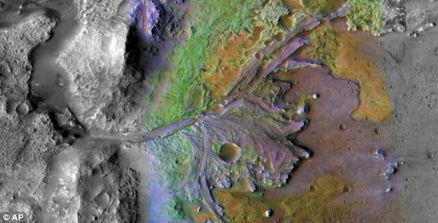 A colour-enhanced image of the delta in Jezero Crater on Mars, which once held a lake taken by NASA's Mars Reconnaissance Orbiter in 2008