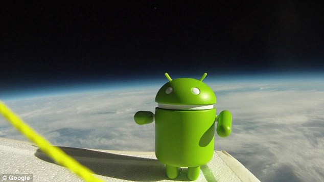 The Android alien overlooking Earth at more than 100,000ft. The Nexus S was still functioning at 60,000ft