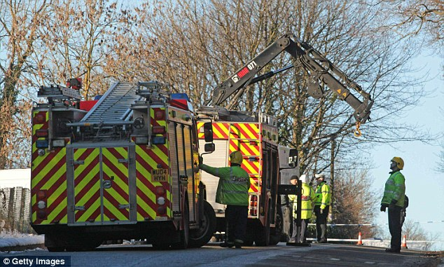 Fire brigade surround the area where Joanna was discovered close to a quarry. They used a crane to shift the body from the scene