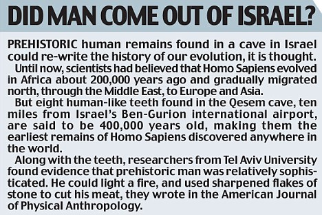 Did man come out of Israel? panel