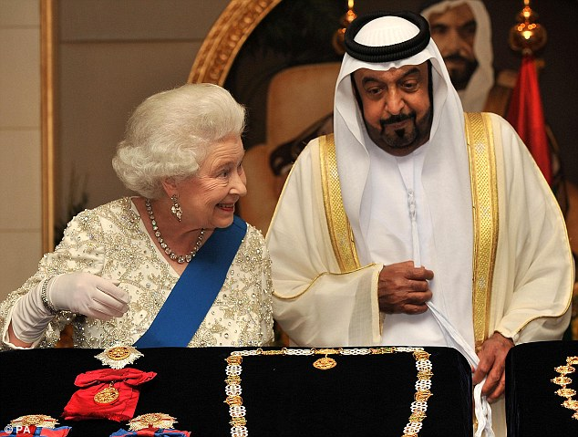 State visit: Sheikh Khalifa bin Zayed Al Nahyan, the President of the United Arab Emirates, accompanies the Queen at the Mushrif Palace in Abu Dhabi last year
