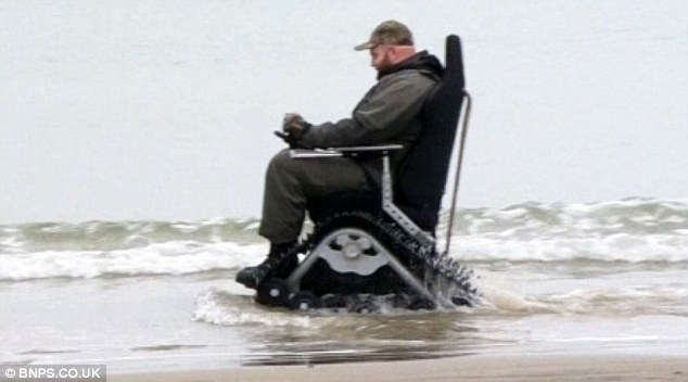 tank chair wheelchair my little pony table and chairs disabled man banned from using off road which by family outings jim was hoping to use the hulking has caterpillar treads