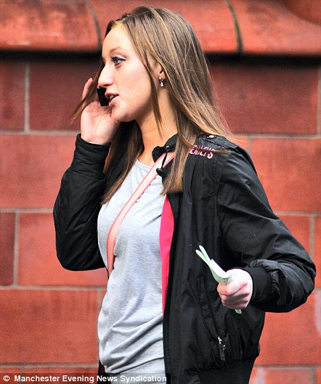 Cruel: Stacey Ravenall leaving Birmingham Magistrates' Court after being charged by the RSPCA for flinging a kitten from a tower block in Stechford