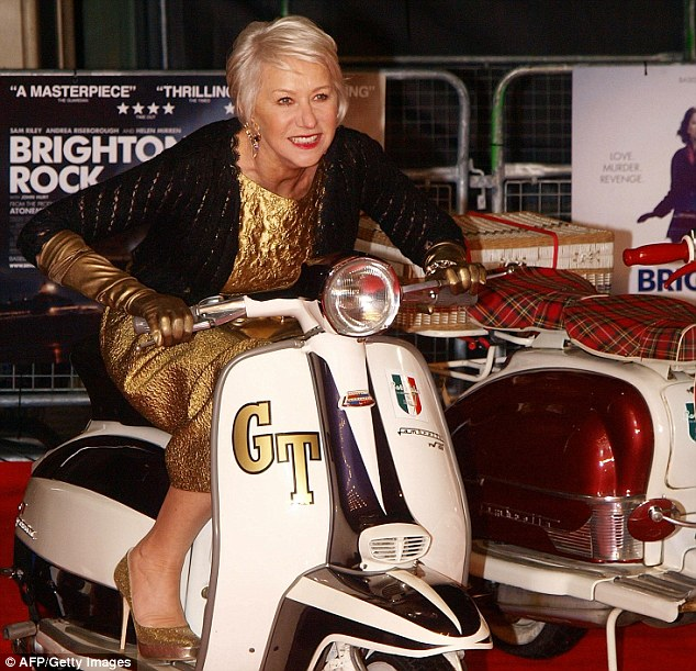 Vroom with a view: Dame Helen Mirren was the night's golden girl as she straddled a scooter at the Brighton Rock premiere