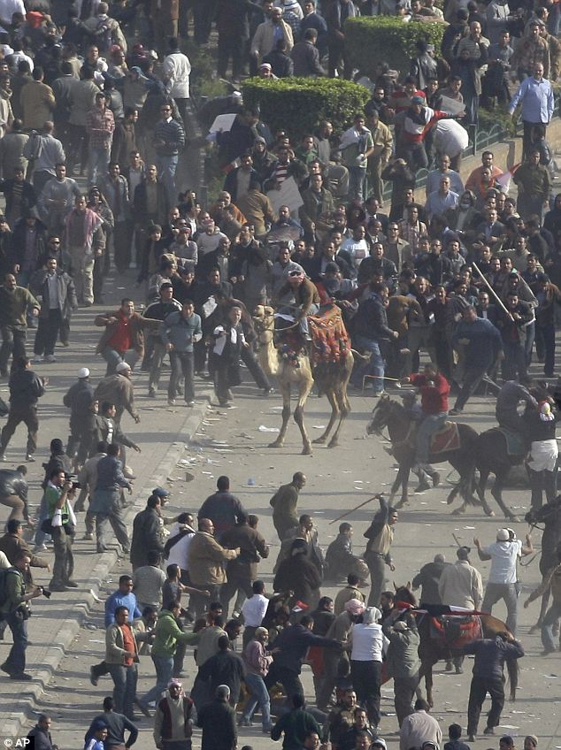 Violent collision: Pro-government demonstrators, below, some riding camels and horses and armed with sticks, clash with anti-government demonstrators, above, in Tahrir Square