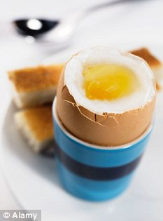 Good egg: The high cholesterol content which previously made eggs a health risk is now much lower compared to ten years ago