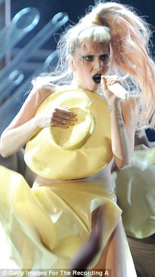 Lady Gaga Egg Dress : dress, Grammys, 2011:, Bursts, Stage, After, Carpet, Entrance, Daily, Online