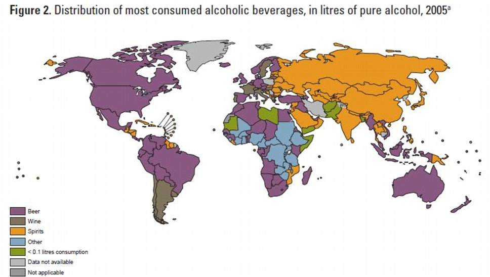 Favourites: Drinkers in Britain and the U.S. mainly drank beer, in France it was wine and in Russia it was spirits