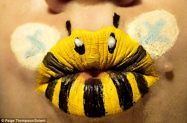 A bumble bee on Paige's lips