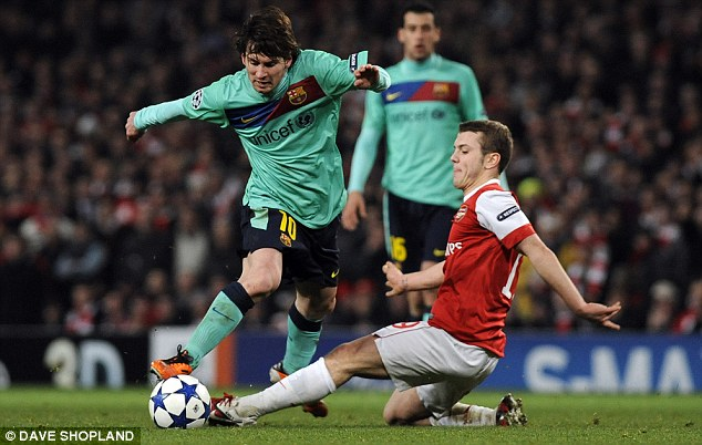 All-action: Wilshere produced a man-of-the-match performance against Barcelona in Arsenal's 2-1 victory
