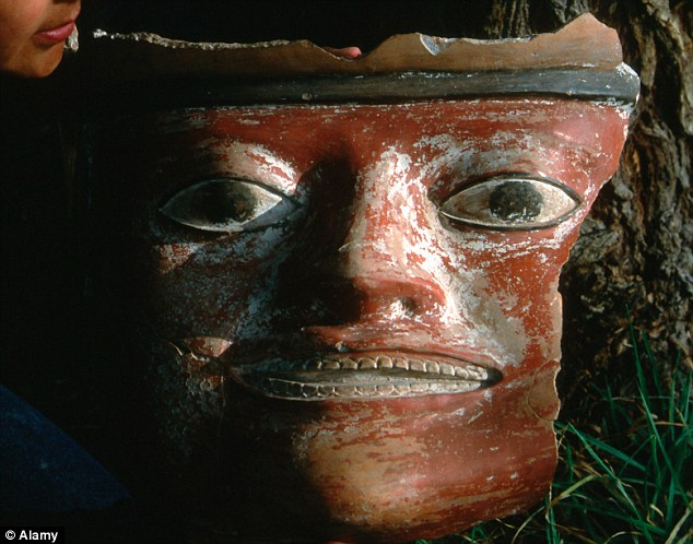 A large Wari ceramic face found at an earlier date. The Wari flourished in the Peruvian Andes between 700 and 1200 AD