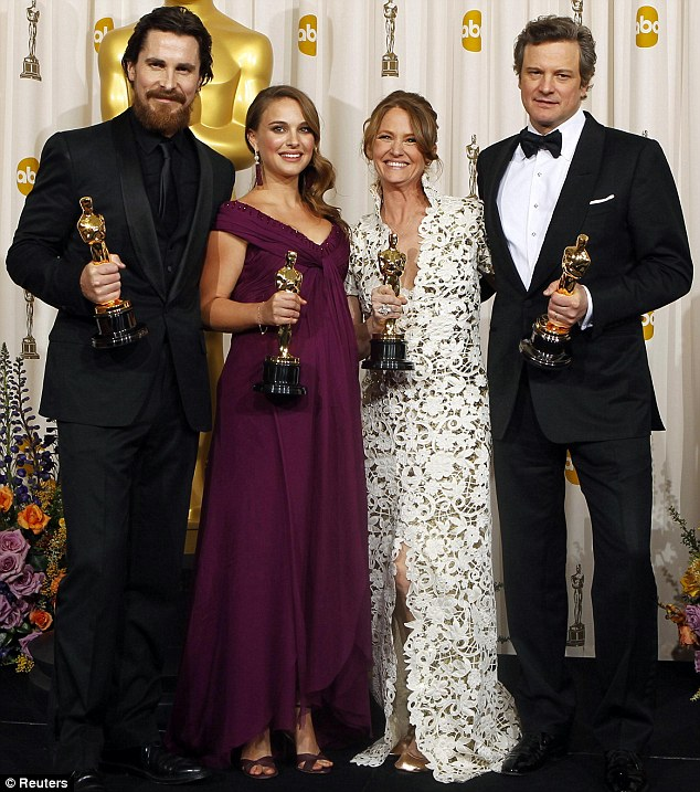The Oscar winners: Best supporting actor Christian Bale, best actress Portman, best supporting actress Leo and best actor Firth