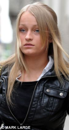 Ruby Thomas, 18, one of the accused in the Trafalgar Square homophobic murder of Ian Baynham leaves the trial at the Old Bailey, London.