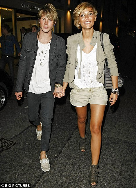 Heartbroken: Dougie Poynter, seen here with former love Frankie Sandford in September, is in rehab after struggling to get over their split