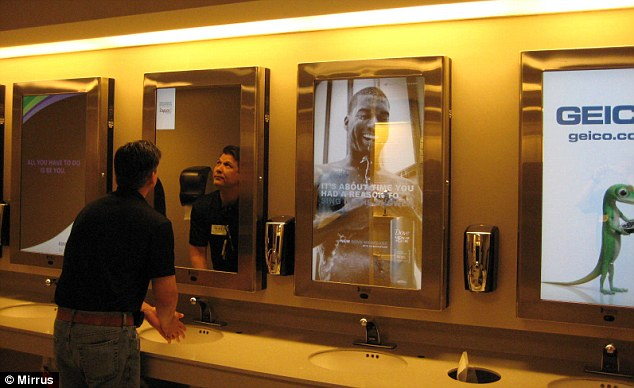 Digital adverts on Chicago airports mirrors target you in the bathroom  Daily Mail Online