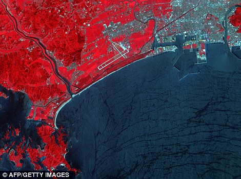 Pictures released by NASA shows the Japanese city of Ishinomaki (top left) after the tsunami and in 2008 (bottom left). Water is dark blue, plant-covered land is red, exposed earth is tan, and the city is silver
