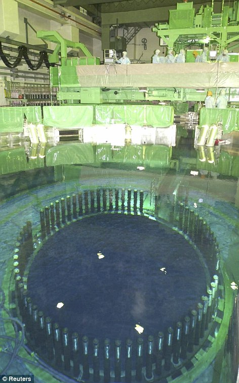 Boiled dry: This shot shows of the inside of reactor number four at the Fukushima nuclear plant before the disaster. The spent fuel storage pool is seen at the front of the shot. The rods are at the bottom of the pool, which has now boiled dry
