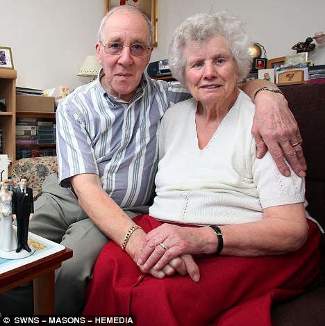 Loved-up: Betty Erskine, 90, and her toyboy Robin Tremayne, 73, have finally tied the knot - with a combined age of 163 - after meeting seven years ago